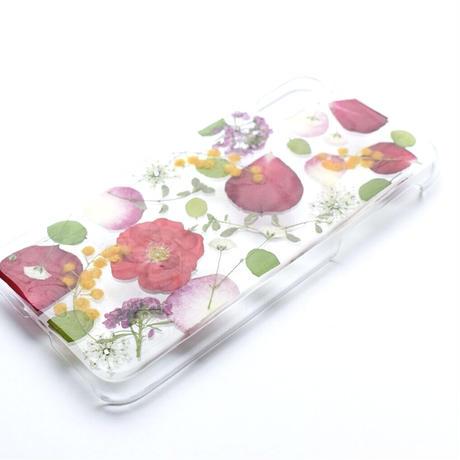 押し花ケース iPhoneX/Xs バラ×ミモザ