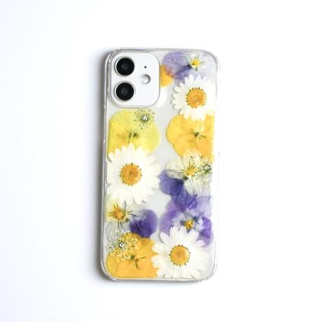 押し花ケース iPhone12 mini ビオラ-黄色