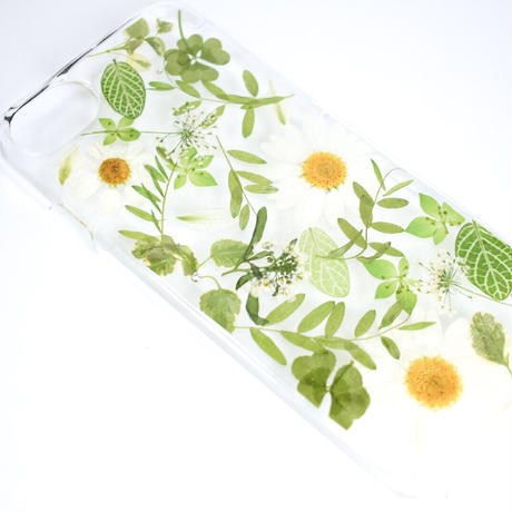 押し花ケース iPhone6/6s/7/8/SE2 ノースポール×グリーン