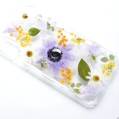押し花ケース iPhoneX/Xs アネモネ紫