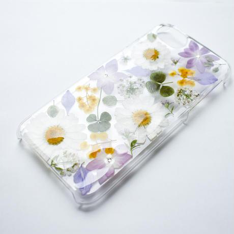 押し花ケース iPhone6/6s/7/8  ノースポール×あじさい×ミモザ