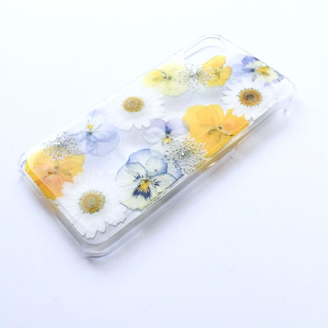 押し花ケース iPhoneX/Xs ビオラ-黄色