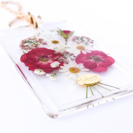 押し花カード入れ ICカード/社員証等  バラ花束