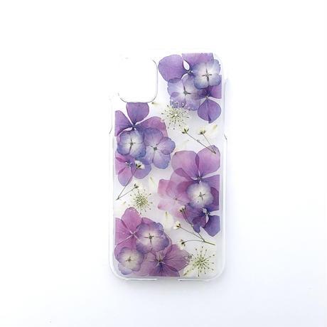 押し花ケース iPhone11/XR あじさい×レースフラワー