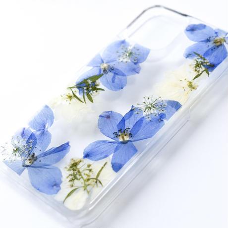 押し花ケース iPhone11 pro デルフィニウム