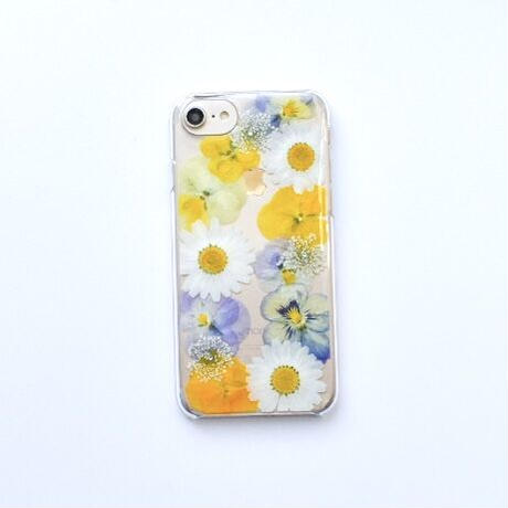 押し花ケース iPhone6/6s/7/8/SE2 ビオラ-黄色
