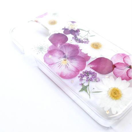 押し花ケース iPhone12/12pro ビオラ-ピンク(AW)