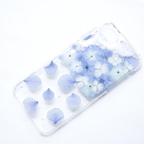 押し花ケース iPhone6/6s/7/8/SE2 あじさい-水色