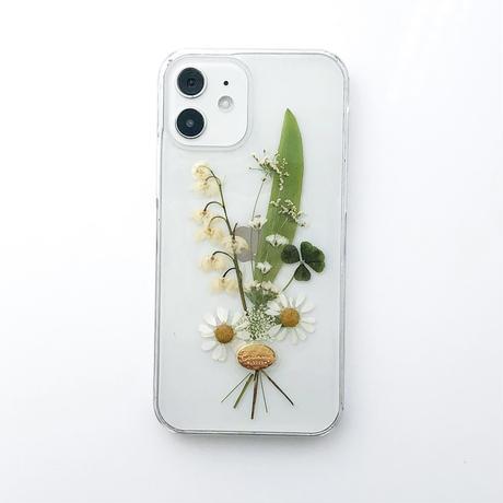 押し花ケース iPhone12/12pro すずらん花束
