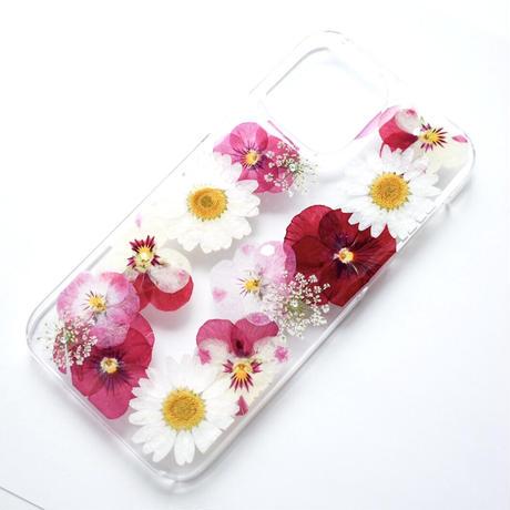 押し花ケース iPhone12/12pro ビオラ-ピンク