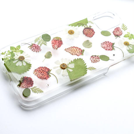 押し花ケース iPhone11/XR ワイルドストロベリー