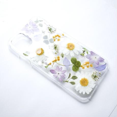 押し花ケース iPhone11/XR ノースポール×あじさい×ミモザ