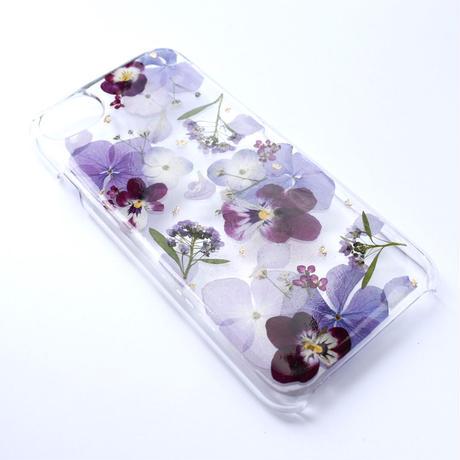 押し花ケース iPhone6/6s/7/8/SE2 あじさい×ビオラ(紫)