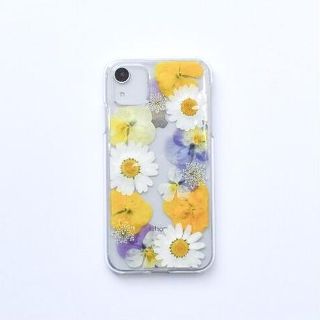 押し花ケース iPhone11/XR ビオラ-黄色