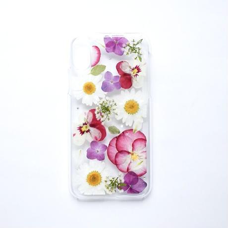 押し花ケース iPhoneX/Xs ビオラ×あじさい×ノースポール