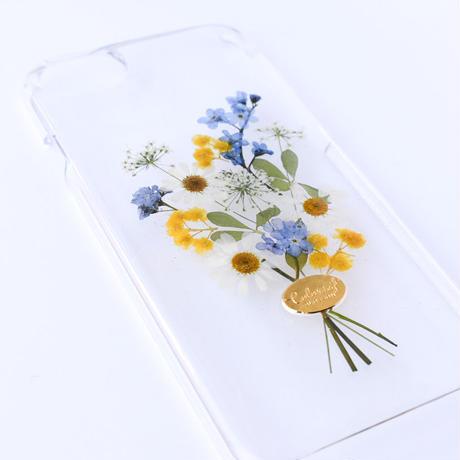 押し花ケース iPhone6/6s/7/8/SE2 勿忘草×ミモザ花束