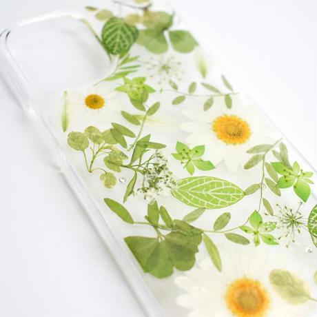 押し花ケース iPhone12/12pro ノースポール×グリーン