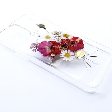 押し花ケース iPhone12/12pro バラ花束