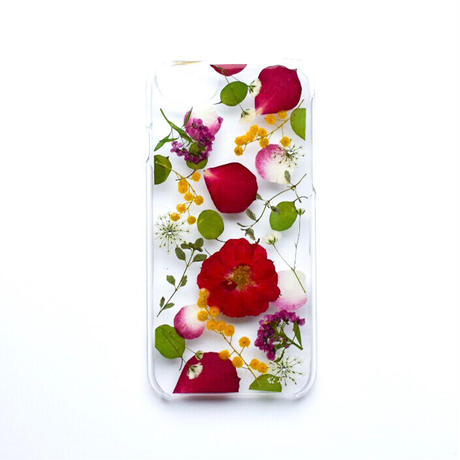 押し花ケース iPhone6/6s/7/8/SE2 バラ×ミモザ