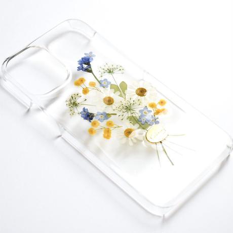 押し花ケース iPhone12mini 勿忘草×ミモザ花束
