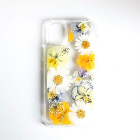 押し花ケース iPhone11pro ビオラ-黄色