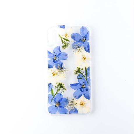 押し花ケース iPhoneX/Xs デルフィニウム
