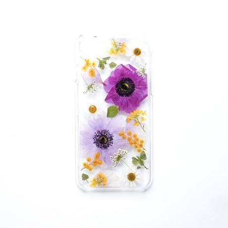 押し花ケース iPhone6/6s/7/8 アネモネ紫