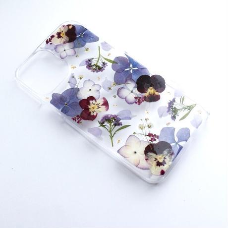 押し花ケース iPhone12/12pro あじさい×ビオラ(紫)