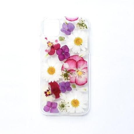 押し花ケース iPhone11/XR  ビオラ×あじさい×ノースポール