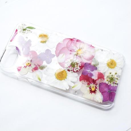 押し花ケース iPhone6/6s/7/8 ビオラ×あじさい×ノースポール