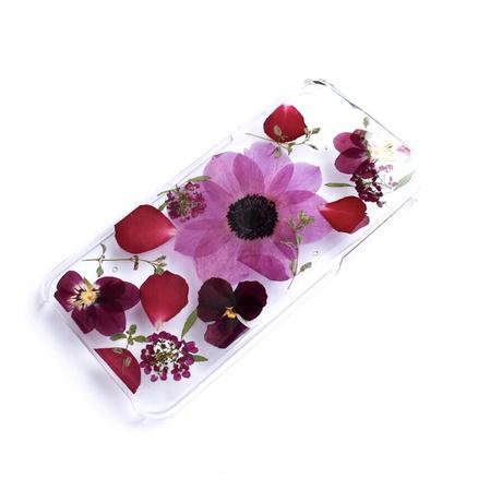【一点もの】押し花ケース iPhone6/6S/7/8 /SE2 アネモネ紫
