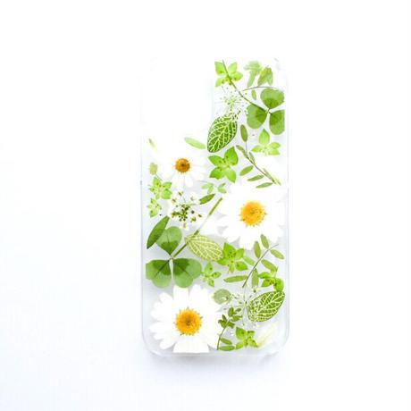 押し花ケース iPhone12 mini  ノースポール×グリーン