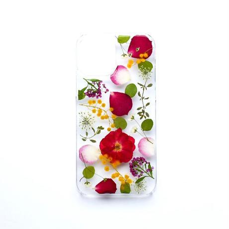 押し花ケース iPhone12/12pro バラ×ミモザ