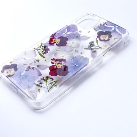 押し花ケース iPhone11/XR あじさい×ビオラ(紫)