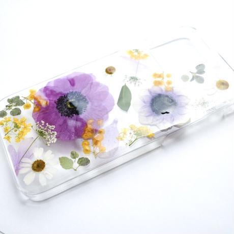 押し花ケース iPhone12/12pro アネモネ紫