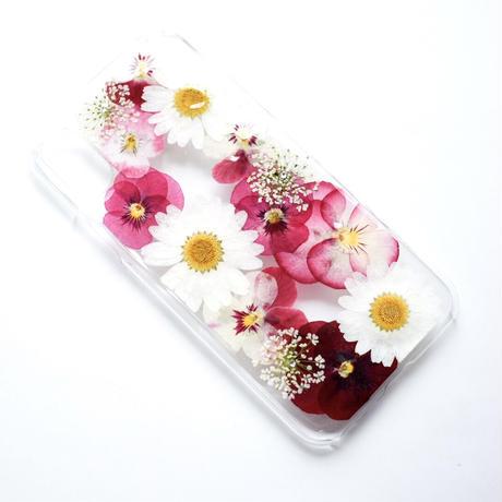 押し花ケース iPhoneX/Xs ビオラ-ピンク
