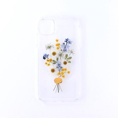 押し花ケース iPhone11/XR 勿忘草×ミモザ花束