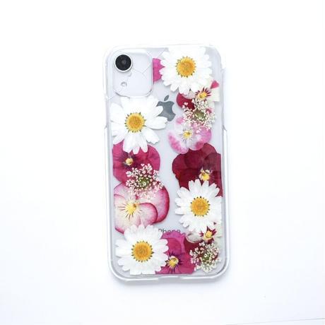 押し花ケース iPhone11/XR ビオラ-ピンク
