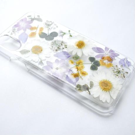 押し花ケース iPhoneX/Xs ノースポール×あじさい×ミモザ