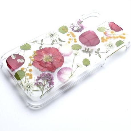 押し花ケース iPhone11/XR バラ×ミモザ