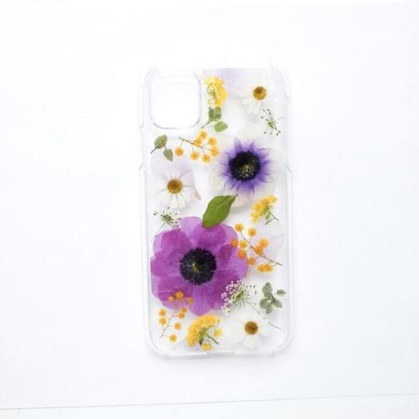 押し花ケース iPhone11/XR アネモネ紫