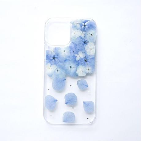 押し花ケース iPhone12/12pro あじさい-水色