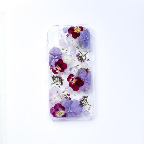 押し花ケース iPhoneX/Xs あじさい×ビオラ(紫)