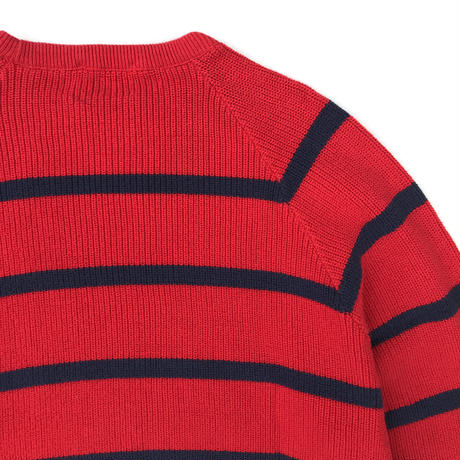 Made in USA / 80s L.L.Bean / Pullover Cotton Border Knit Sweater / Red / Used