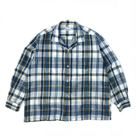 Made in USA / 60s Town Craft /  L/S Open Collar Check Shirt / Blue / Used
