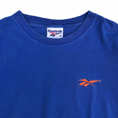 90's Reebok / One Point Embroidered Tee / Blue / Used