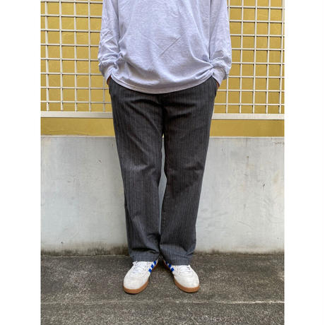 Color at Against Length Custom  / OLD GAP / No Tuck Cotton Striped Slacks / Grey33 / Used(L)