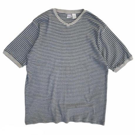 Utility / Cotton Ribbed Border V-Neck Tee / Grey / Used
