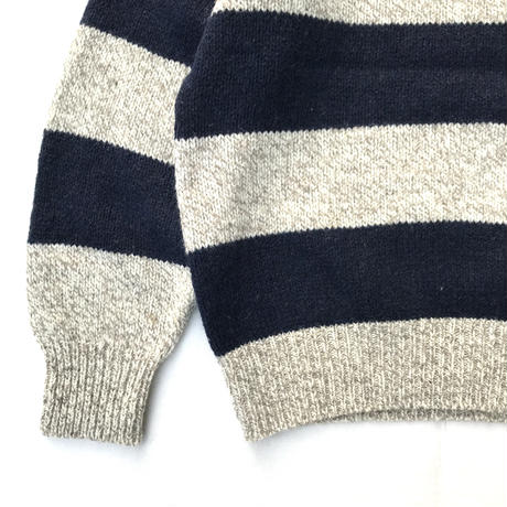 Made in USA / 80s L.L.Bean /  Border Knit Sweater / Ivory / Used