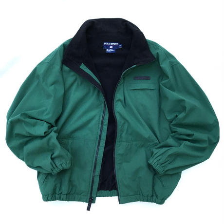 90s Polo Sport / Fleece Lined Nylon Jacket / Green / Used